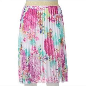 Candie's Floral Pleated Midi Skirt Large